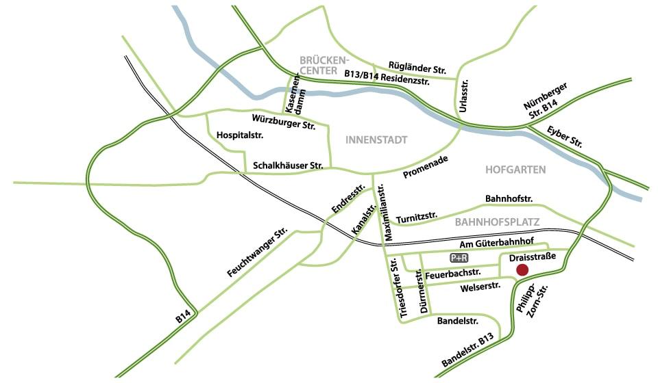 Internisten Ansbach - Anfahrtsskizze